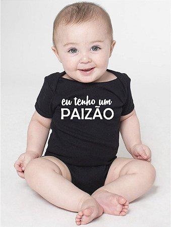 Body Bebê Frases Pai Paizão Engraçadas Papai Básico Preto