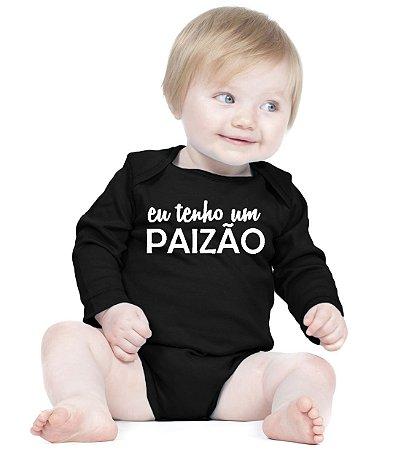 Body Bebê Eu Tenho um Paizão Frases Engraçadas Pai Papai Manga Longa Preto