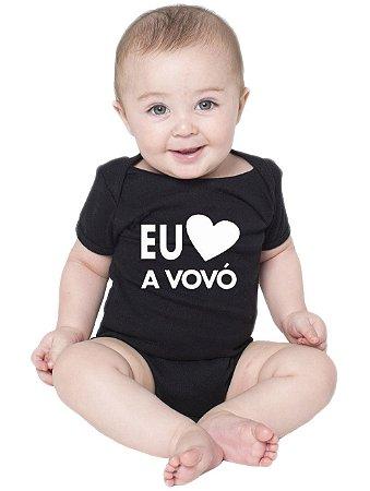 Body Bebê Amo a Vovó Frases Divertidas Fofas Preto