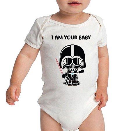 Body I Am Your Baby Star Wars Fofinho Bebê Frases Engraçadas Branco