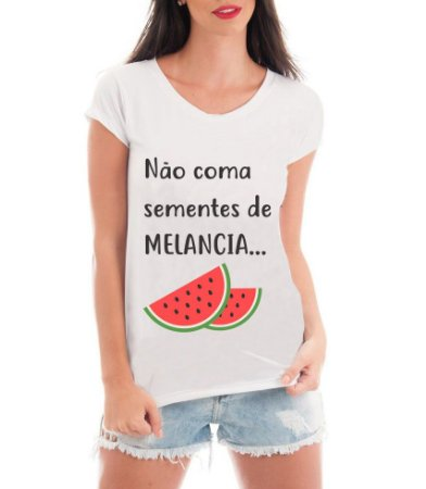 Camiseta Feminina Sementes de Melancia Blusa Frases Divertidas Grávida