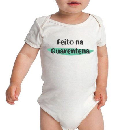 Body Bebê Feito Na Quarentena Manga Curta Frases Engraçadas Branco