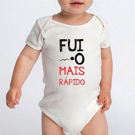Body Bebê Frases Engraçadas Fui o Mais Rápido - Roupinhas Macacão Infantil Bodies Roupa Manga Curta Menino Menina Personalizados