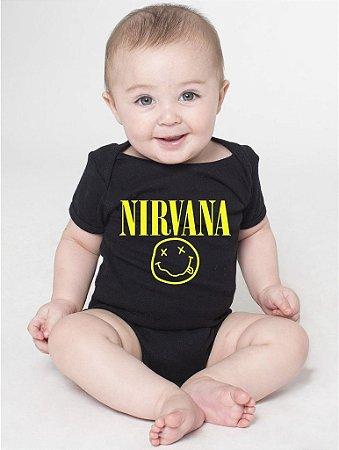 Body Bebê Banda de Rock Nirvana  - Roupinhas Macacão Infantil Bodies Roupa Manga Curta Menino Menina Personalizados