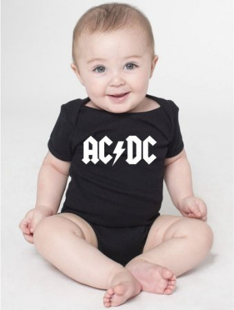 Body Bebê Banda de Rock ACDC- Roupinhas Macacão Infantil Bodies Roupa Manga Curta Menino Menina Personalizados