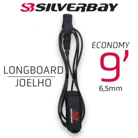 Leash Surf SILVERBAY ECONOMY LONG JOELHO 9' 6,5mm - Preto