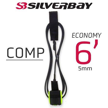 Leash Surf SILVERBAY ECONOMY COMP 6' 5mm - Preto/Verde Flúor