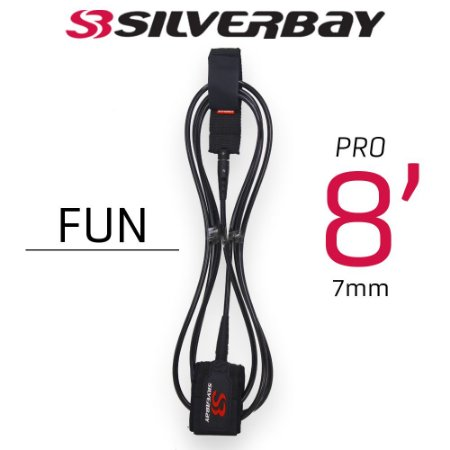 Leash Surf SILVERBAY PRO FUN  8' 7mm - Preto