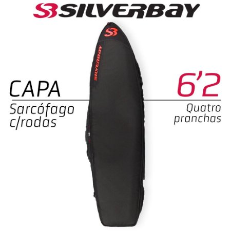 Capa Sarcófago SILVERBAY PREMIUM Com Rodas para Quatro Pranchas 6'2 - Preto