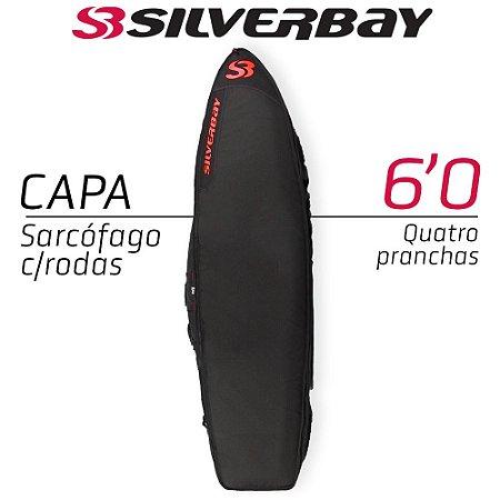 Capa Sarcófago SILVERBAY PREMIUM Com Rodas para Quatro Pranchas 6'0 - Preto