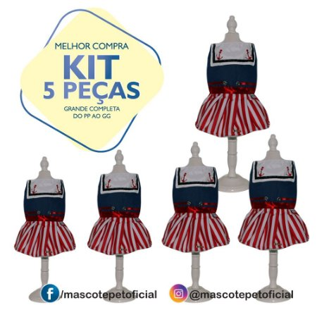 KIT 5 PEÇAS Ref: 218 Vestido Marinheira