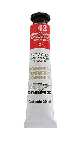 Tinta Oleo Corfix 20ml 43 vermelho Cádmio Escuro Claro Grupo 3