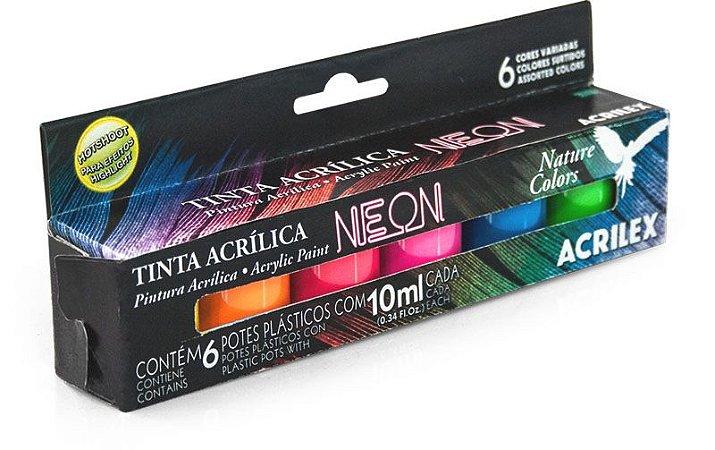 Tinta Acrílica Neon - 6 cores