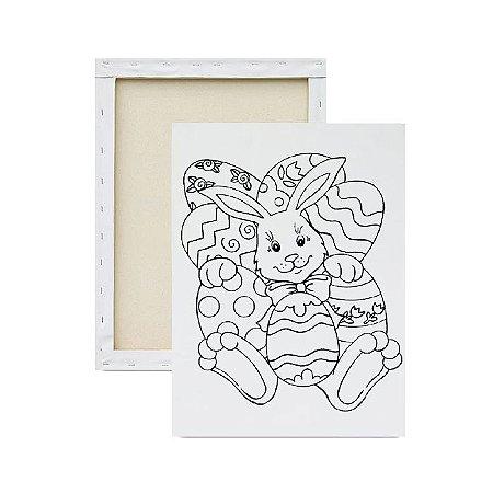 Tela para pintura infantil - Coelhinho e os Ovos de Páscoa