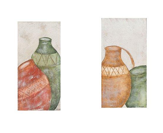 Composê de Quadros pintados à mão Abstrado - Vasos 30x60