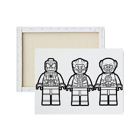Tela Para Pintura Infantil - Homem Aranha, Coringa e Flash Lego