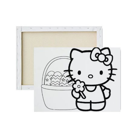 Tela para pintura infantil - Hello Kitty na Páscoa
