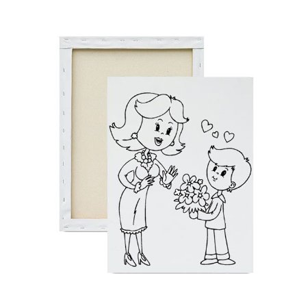 Tela para pintura infantil - Mamãe e buque