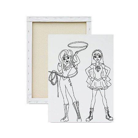 Tela Para Pintura Infantil - Mulher Maravilha e Super Girl