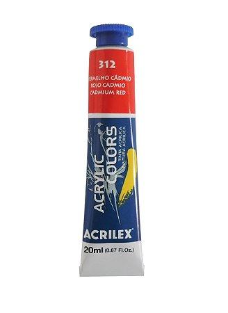 Tinta Acrilica Acrilex 20ml 312 - Vermelho de Cadmio