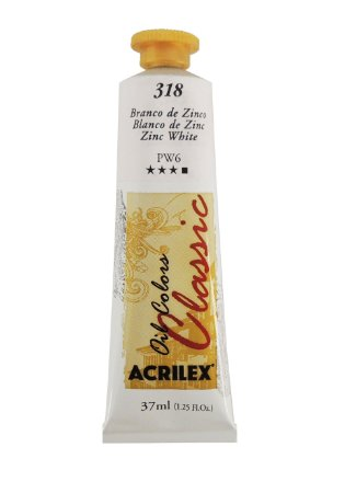 Tinta Oleo Acrilex 37 ml 318 - Branco de Zinco