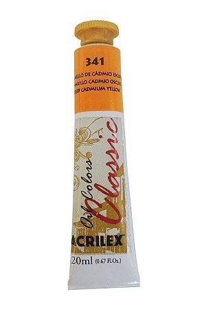 Tinta Oleo Acrilex 20ML 341 - Amarelo de Cadmio Escuro