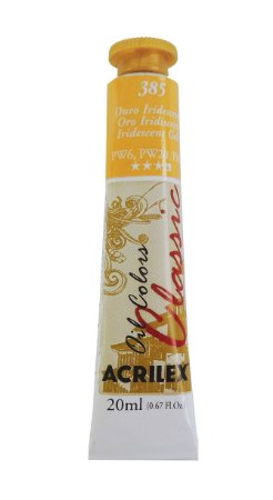 Tinta Oleo Metalica Acrilex 20ML 385 - Ouro Iridescente