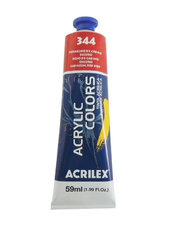 Tinta Acrilica Acrilex 59ml 344 - Vermelho de Cadmio Escuro