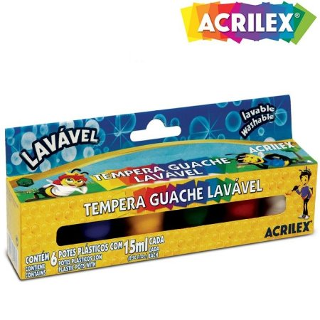 Tinta Tempera Guache Acrilex lavável - 6 cores