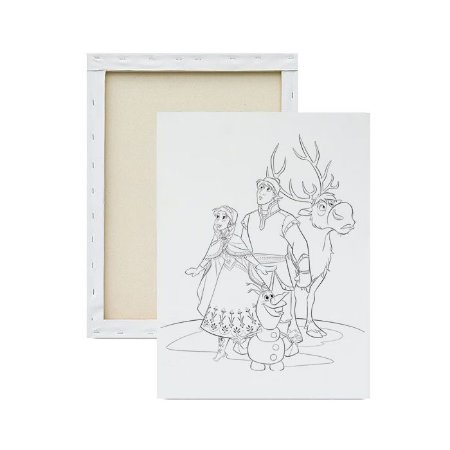 Tela para pintura infantil - Anna, Olaf, Kristoff e Sven