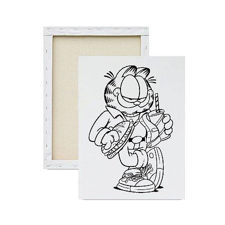 Tela para Pintura Infantil - Garfield Comendo