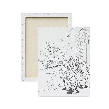 Tela para Pintura Infantil - Os três porquinhos e o lobo mau