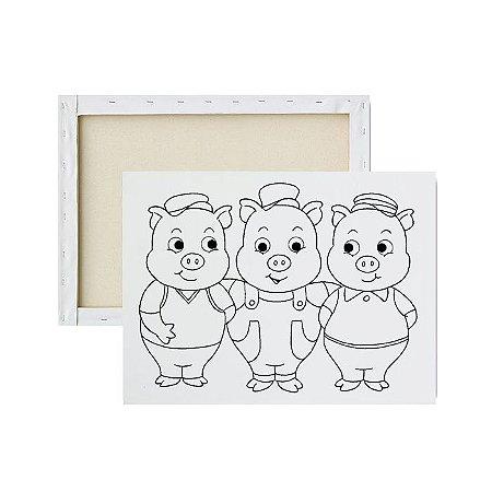 Tela para Pintura Infantil - Os três porquinhos