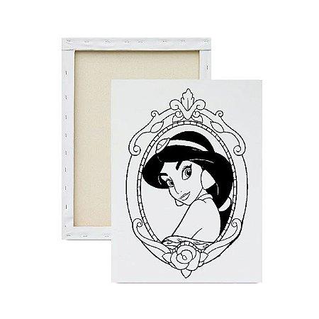 Tela para Pintura Infantil - Princesa Jasmine no Espelho