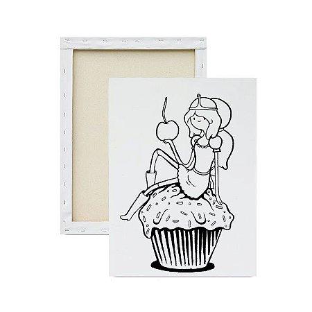 Tela para Pintura Infantil - Princesa Jujuba no cupcake