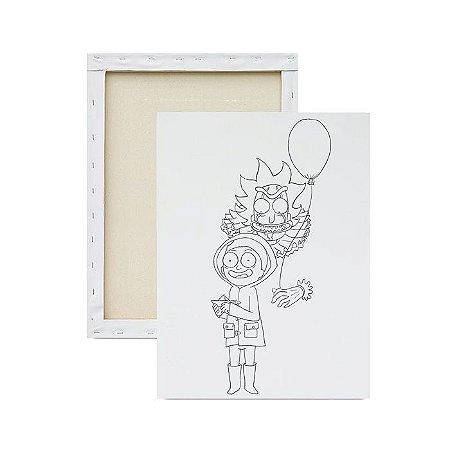 Tela para Pintura Infantil - Ricky and Morty e o Balão