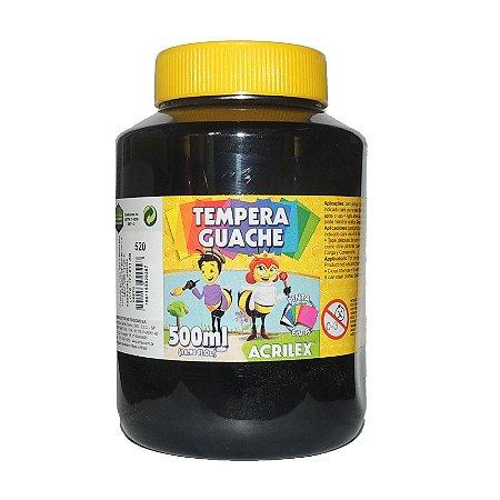 Tinta Tempera Guache Acrilex 500 ml 520- Preto