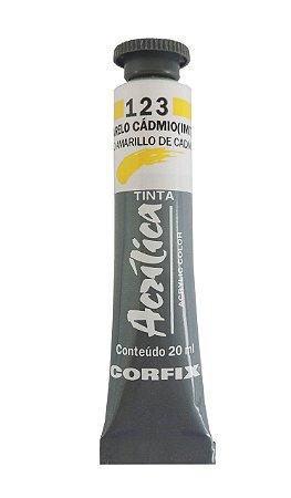 Tinta Acrilica Corfix 20ml 123 Amarelo Cadmio