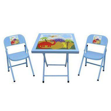 Mesa com 02 cadeiras infantil Azul
