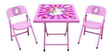 Mesa com 02 cadeiras infantil Rosa