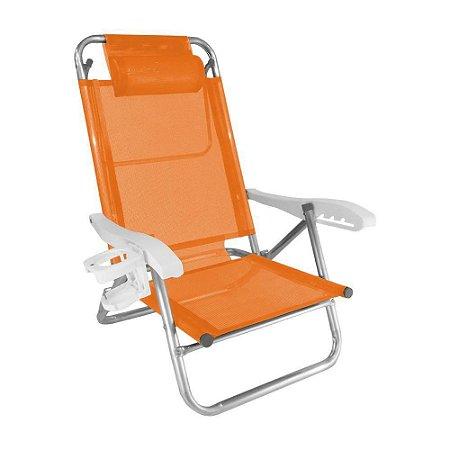Cadeira Zaka Top Line Reclinável 5 Posições Alumínio Laranja Cítrica 120Kg