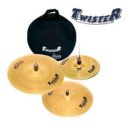 """Kit de Pratos Orion Twister TWR90 14"""" 16""""2 0"""" com bag"""