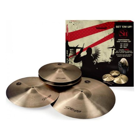 "Kit De Pratos Stagg Sh Set 14"" 16"" 20"" B20 Com Bag + Baquetas"