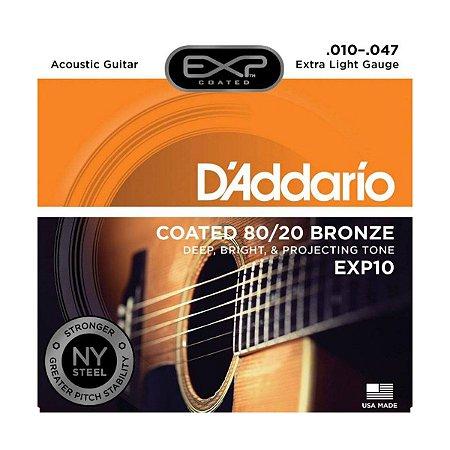 Encordoamento Daddario Violão Aço EXP10 010 Bronze 80/20
