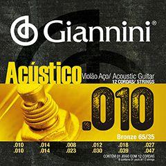 Encordoamento Giannini Acustico para Violao 12 Cordas Aço GESWA
