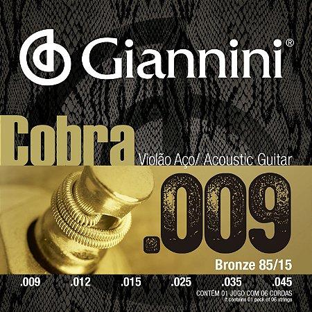 Encordoamento Giannini Cobra para Violão Aço 009 GEEWAK