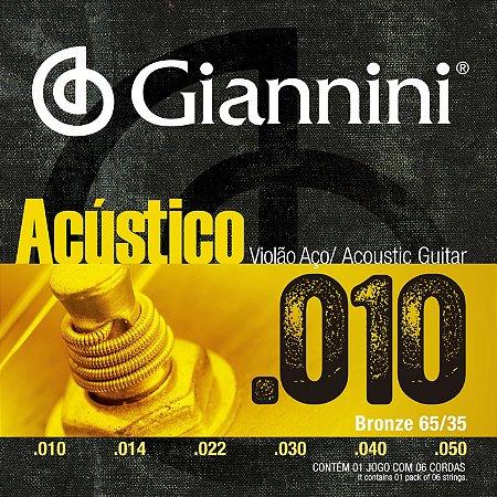 Encordoamento Giannini Acustico para Violao Aco 010 GESWAM
