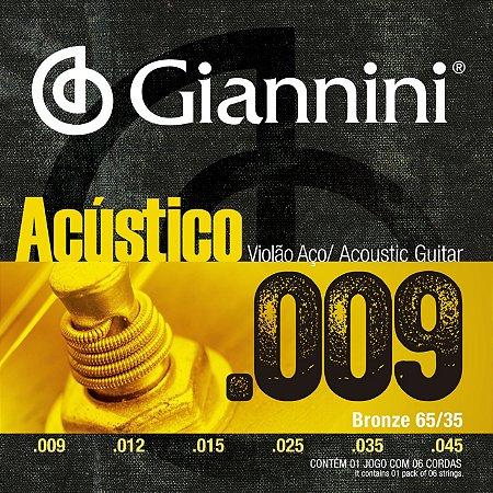 Encordoamento Giannini Acustico para Violao Aco 009 GESWAL