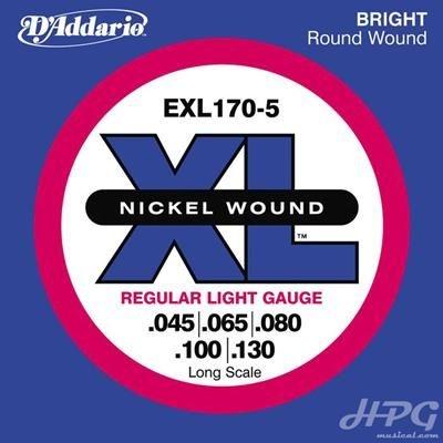 Encordoamento Daddario Baixo Nickel EXL 170-5 5 Cordas 045