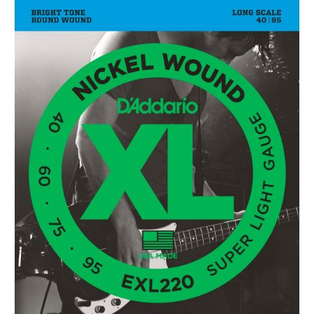 Encordoamento Daddario Baixo Nickel EXL220 4 Cordas 040